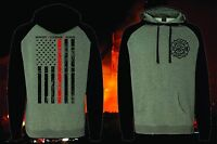 THIN RED LINE FLAG SUPPORT FIREFIGHTER FIRE DEPARTMENT T-SHIRT HOODED SWEATSHIRT