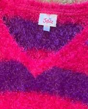 """A*"" JUSTICE Size 8 100% polyester super soft fuzzy sweater  purple and fuchsia"