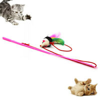 Funny Pet Cat Teaser Mouse Shape Feather Fishing Rod Stick Interactive Play Toy