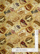 Vineyard Valley Wine Labels Chateau Cotton Fabric Blank Textiles By The Yard
