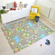 Tapis circuit en vinyle - Rues ville verte - Tapis de jeu pour chambre d'enfants