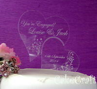 Engraved Heart Acrylic Personalised Engagement  wedding cake toppers decorations