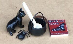 1:12 Scale Halloween Set Cauldron Book Black Cat Spider Tumdee Dolls House B