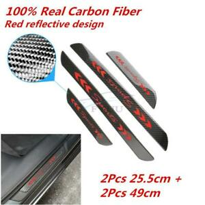 4Pcs Real Carbon Fiber Car SUV Door Welcome Plate Sill Scuff Cover Panel Sticker