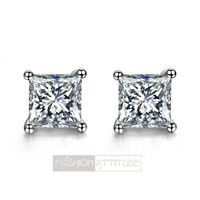 18k white gold gp made with princess cut swarovski crystal square stud earrings