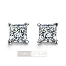 18ct white gold gp made with swarovski crystal square ladies stud earrings 6mm