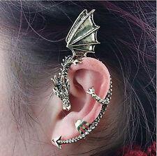Hot Mens Womens Bronze Gothic Rock Punk Metal Dragon Bite Ear Cuff stud Earring