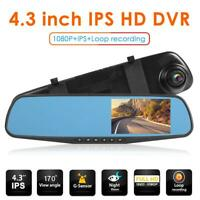 "HD 1080P 4.3"" IPS Screen Car DVR Rearview Mirror Camera Dash Cam Video Recorder"