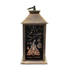 Gold Christmas Lantern PVC LED Lights Xmas Party Home Nativity Decoration
