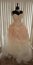 Victorian Blush Champagne Ivory Corset Embroidered Lace Tulle Wedding Ball Gown