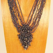 "16"" Hematite Color Stone Chip Cluster Handmade Seed Bead Necklace"
