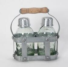 Vintage Style Mason Jar Salt and Pepper Shaker Set in Milk Crate Caddie