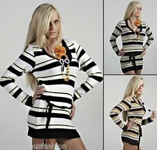 Sexy Jumper Long Sweater Striped Tops Ladies Womens Knitted Dress V Neck 8 10 12