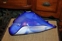 Vintage Art Glass Seashell Bowl Dish Blue White Swirl Colors Large Size Nautical
