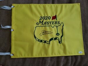 Signed 2020 Masters Pin Flag w/Jack Nicklaus & years won JSA L.O.A autograph