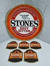 More details for vintage 90s stones sheffield bitter - metal bar pub tray & beer mats - man cave