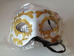 BNIP White & Gold Design Masquerade Ball Eye Mask by Smiffys