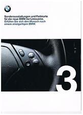 Prospekt BMW 3er E46 Sonderausstattungen und Farbkarte 1998