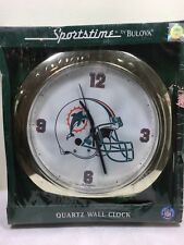 LICENSED NFL SPORTS-TIME MIAMI DOLPHINS  QUARTZ WALL CLOCK BY BULOVA