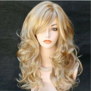 Fashion Women Long Curly Blonde Gold Brown Wavy Synthetic Wigs
