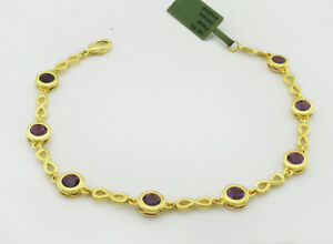 GENUINE 2.86 Cts AMETHYST BRACELET 14K GOLD PLATED * New With Tag