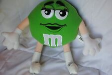"""12"""" Plain Green M&M plush doll 2005 white boots plastic eyes embroidered lips"""