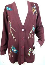 Jones NY Womens Sweater Burgundy Embroidered Flags Wool Blend Cardigan Small