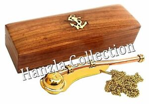 Boatswain Whistle With Wooden Box Bosun Call Pipe Brass / Copper Nautical Gift