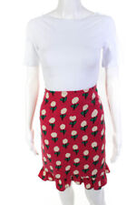 Moschino Womens Wool Frill Hem Floral Pencil Skirt Pink Size 6