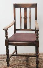 Antique Edwardian Oak Carver Armchair Leather Seat - FREE DELIVERY [PL1175]