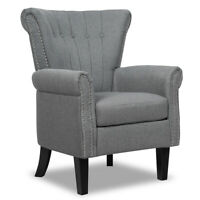 Modern Accent Arm Chair Tufted Upholstered Single Sofa w/ Rubber Wood Legs Grey