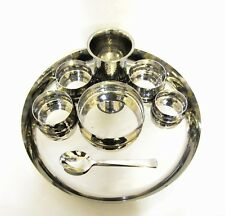 8 piece Stainless Steel  Indian Thali Set for Serving Dinner Food Curry Tray