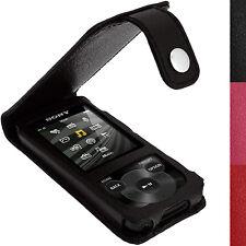 Schwarz Leder Tasche Hülle für Sony Walkman NWZ-E585 Schutzfolie Karabinerhaken