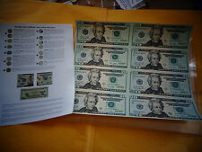 8 UNCUT SHEET $20 , $20x 8 Legal USA .20 DOLLAR bills- Real Currency Note /rare