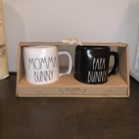 Rae Dunn MOMMA BUNNY and PAPA BUNNYMugs Ivory and Black Ceramic Coffee Mug Set