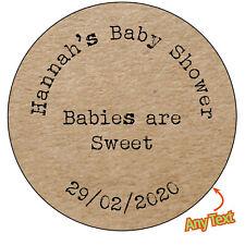 Personnalisé bébés sont sweet baby shower shabby marron kraft effet stickers - 4...
