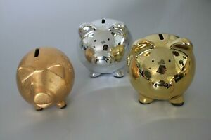 10 x Keramik Spardosen Sparschweinchen 9- 11cm gold silber Restposten B2B