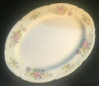 """Edwin M. Knowles China Co. Floral Pattern 14"""" Oval Serving Platter Vintage"""