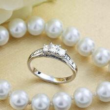 1Ct Princess Cut Diamond Ladies Three Stone Engagement Ring 10K White Gold Over