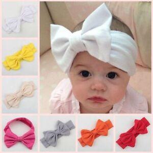 H.QUALITY 1-3 Y Girl Kid Pure Cotton Bow Headband Stretch Turban Knot Head Wrap