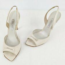 Gio Diev Italy High Heel Slip On Cream Leather Womens Size 37