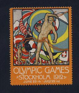 Original 1912 Olympic games Stockholm poster stamp cinderella MINT w. gum