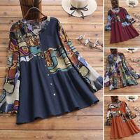 ZANZEA Women Long Sleeve Buttons Down Shirt Tops Floral Print Blouse Ethnic Tops
