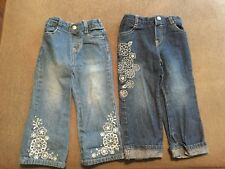 FADED GLORY GIRLS 24 MO LOT OF 2 EMBRIODERED JEANS
