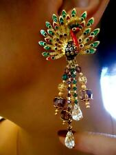 """VTG SIGN COUTURE MASSIVE PEACOCK GLASS DROP 3.25"""" ORNATE JEWELED RUNWAY EARRINGS"""