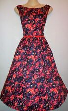 NEW LINDY BOP FIFTIES STYLE AUDREY RED FLORAL DRESS SIZE 8 LINED