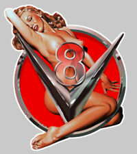 PINUP V8 USA BIG BLOCK HOT ROD 10cmX8cm SEXY EROTIQUE NUE STICKER AUTO (PA091G)