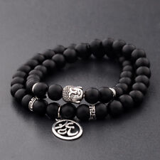8MM Fashion Natural Obsidian Beads Double Winding 3D OM Buddha Beads Bracelets