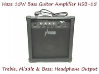 Haze 15W Bass Guitar Amplifier w/Treble,Middle,Bass,Headphone Output. HSB-15 BK
