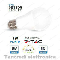 Lampadina led V-TAC 9W E27 bianco freddo 6000K VT-2016 A60 sensore crepuscolare